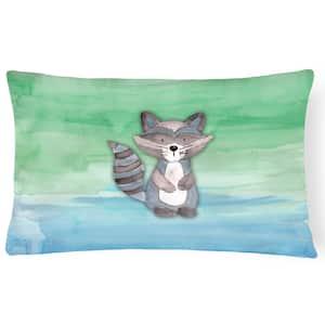 12 in. x 16 in. Multi-Color Lumbar Outdoor Throw Pillow Raccoon Watercolor