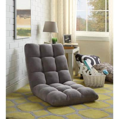Microplush Grey Quilted Folding Gaming Chair Floor Recliner