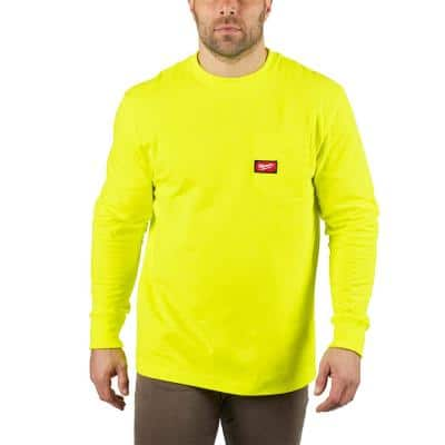 Men's X-Large High Visibility Heavy-Duty Cotton/Polyester Long-Sleeve Pocket T-Shirt