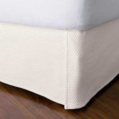 Madelyn Matelasse 14 in. Ivory Cotton Twin Bed Skirt