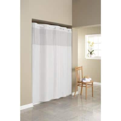 Simply Solid 71 in. Microfiber White Shower Curtain