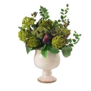 15 in. H Green Artichoke and Hydrangea Silk Flower Arrangement