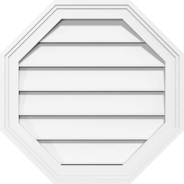 Ekena Millwork 14 In X 14 In Octagonal Surface Mount Pvc Gable Vent Functional With Brickmould Frame Gvpoc14x1402sf The Home Depot