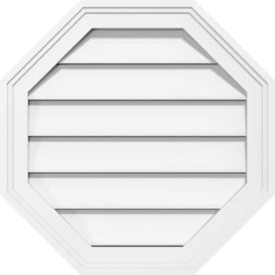 """26"""" x 26"""" Octagonal Surface Mount PVC Gable Vent: Functional with Brickmould Frame"""