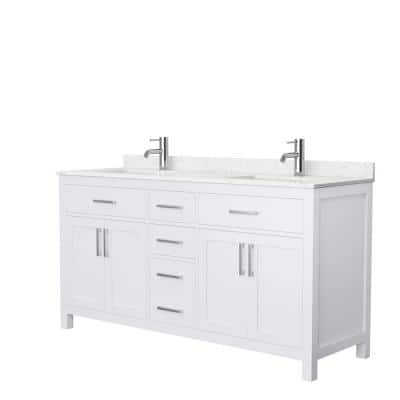Beckett 66 in. W x 22 in. D Double Vanity in White with Cultured Marble Vanity Top in Carrara with White Basins