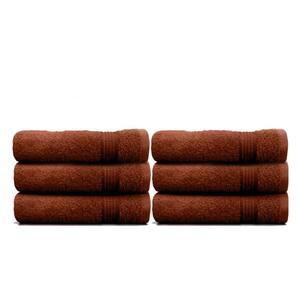 6-Piece Brown Geometric 100% Cotton Hand Towel Set