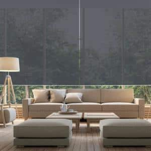 Cut-to-Size 66 in. W x 73 in. L Brown Cordless Solar Screen Roller Shade