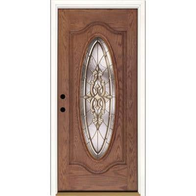 37.5 in. x 81.625 in. Silverdale Brass Full Oval Lite Stained Medium Oak Left-Hand Inswing Fiberglass Prehung Front Door