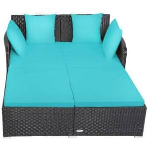 1-Piece Plastic Rattan Outdoor DayBed with Turquoise Cushions