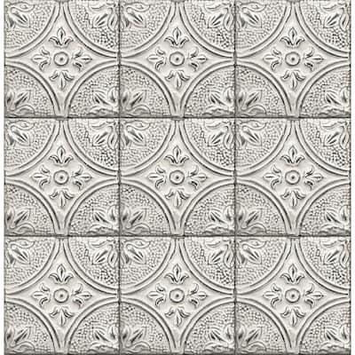 Brasserie Silver Tin Ceiling Tile White/Silver Wallpaper Sample
