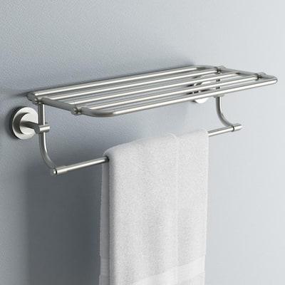 ISO 10-7/10 in. L x 6-9/25 in. H x 26-19/20 in. W Zinc Hotel-Style Bathroom Shelf in Brushed Nickel