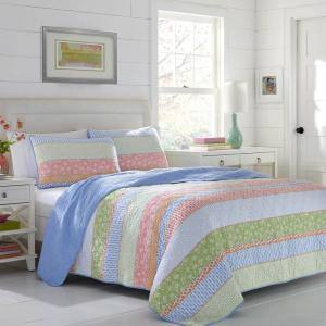 Charlie 3-Piece Blue Striped Cotton King Quilt Set