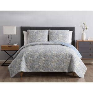 Sally Reversible Blue Floral Twin Quilt Set