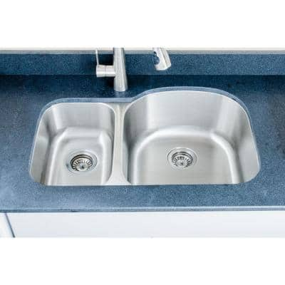 The Craftsmen Series Undermount Stainless Steel 32 in. 30/70 Double Bowl Kitchen Sink