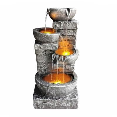 Outdoor Zen Garden 33 in. Stone-Texture Polyresin Cascading Waterfall Fountain with LED Lights