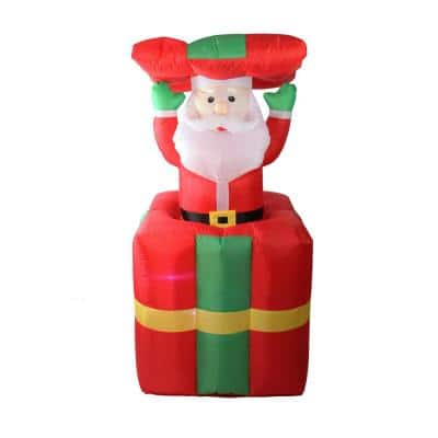 5 ft. Lighted Inflatable Pop Up Santa Claus in Gift Box Christmas Outdoor Decoration