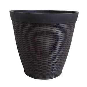 Jamaica Wicker 15 in. x 14 in. Dark Coffee High-Density Resin Planter