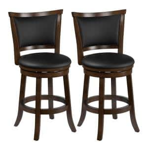 Woodgrove 25 in. Counter Height Swivel Bar Stools with Black Bonded Leather Seat and Backrest (Set of 2)