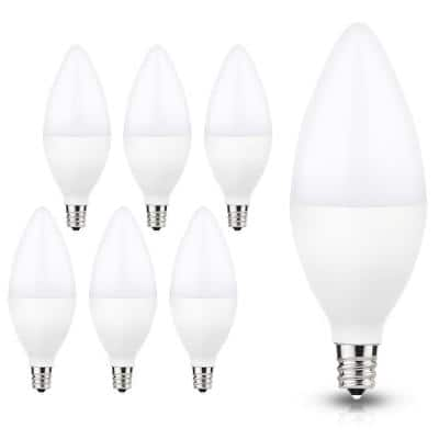 UL-Listed 60-Watt Equivalent 6W C11 Dimmable LED Candle Light Bulb E12 Base in Daylight 5000K (6-Pack)