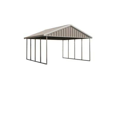 Premium Canopy 16 ft. x 20 ft. Ash Grey and Polar White All Steel Carport Structure with Durable Galvanized Frame