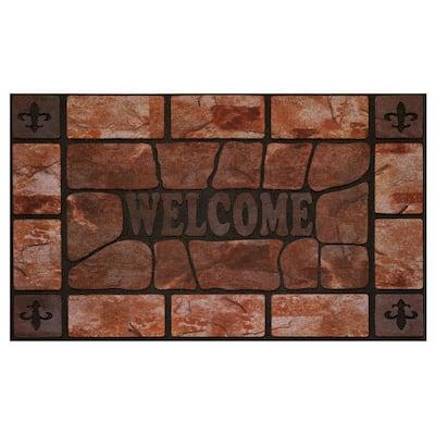 Clay Stone 18 in. x 30 in. Raised Rubber Door Mat