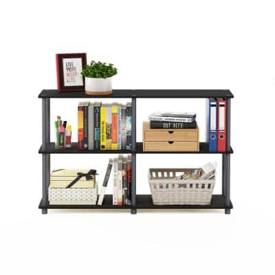 29.5 in. Black/Gray Plastic 3-shelf Etagere Bookcase with Open Back