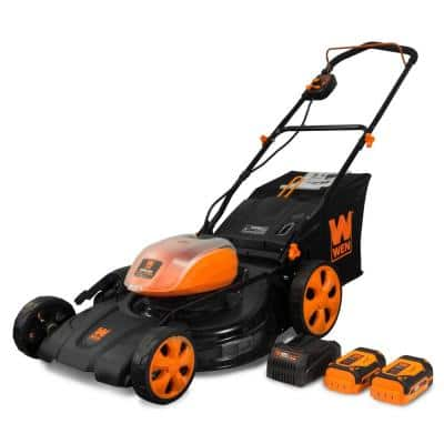 21 in. 40-Volt Max Lithium-Ion Cordless 3-in-1 Walk Behind Push Lawn Mower - 16 Gal. Bag, Two Batteries/Charger Included