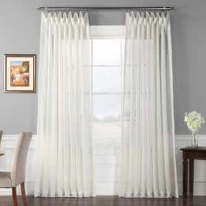 Off White Solid Extra Wide Rod Pocket Sheer Curtain - 100 in. W x 84 in. L