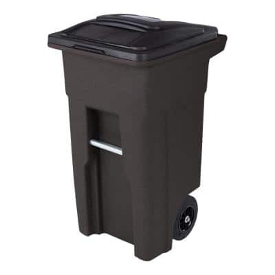32 Gal. Brownstone Trash Can with Quiet Wheels and Attached Lid