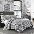 Preston 3-Piece Gray Plaid Cotton Blend King Comforter Set