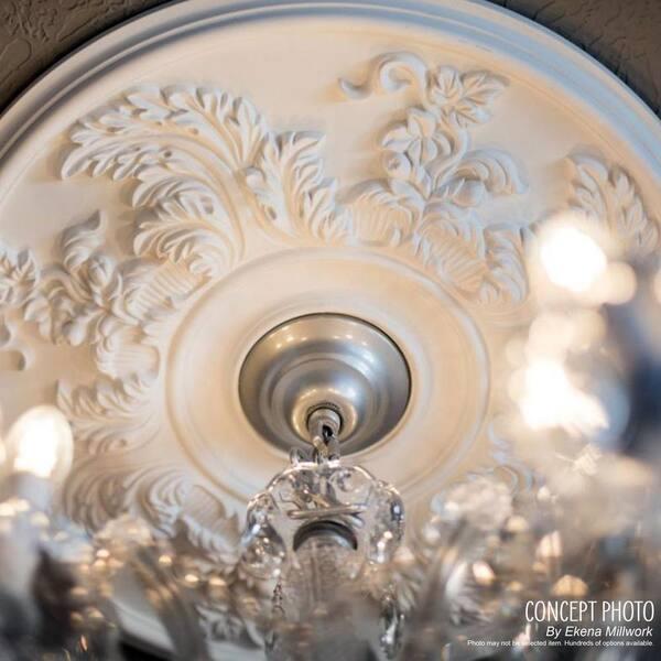 Ekena Millwork 22 5 8 X 1 3 4 Bordeaux Urethane Ceiling Medallion Fits Canopies Upto 3 1 4 Primed White Cm22bo The Home Depot