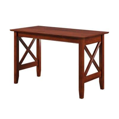48 in. Rectangular Walnut Writing Desk with Solid Wood Material