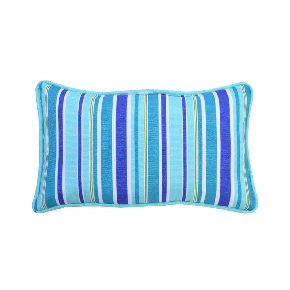 Hampton Bay Seaglass Stripe Lumbar Outdoor Throw Pillow 2 Pack 7907 02524000 The Home Depot