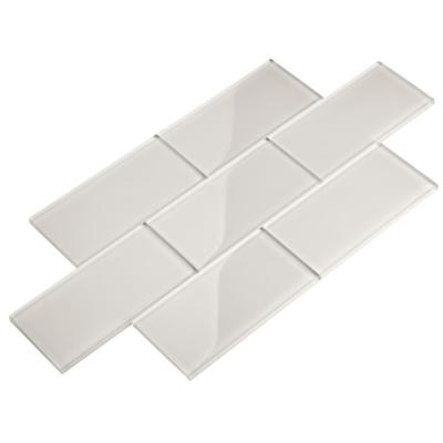 Alabaster 3 in. x 6 in. x 8mm Glass Subway Wall Tile (5 sq. ft./Case)