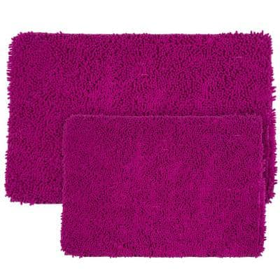 Shag Pink 21 in. x 32 in. Memory Foam 2-Piece Bath Mat Set