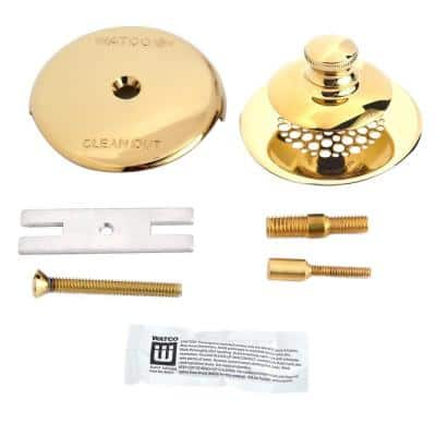 Universal NuFit Push Pull Bathtub Stopper with Grid Strainer, 1-Hole Overflow Silicone and 2-Pin, Polished Brass