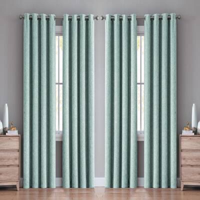 Jasmine Textured 38 in. W x 96 in. L Grommet Blackout Window Curtain Panel in Seafoam (4 Panels)