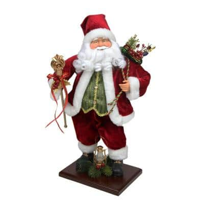 18 in. Santa Claus with Gift Bag and Staff Christmas Tabletop Decoration