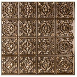Valencia 2 ft. x 2 ft. Glue Up Vinyl Ceiling Tile in Antique Gold (48 sq. ft./case)