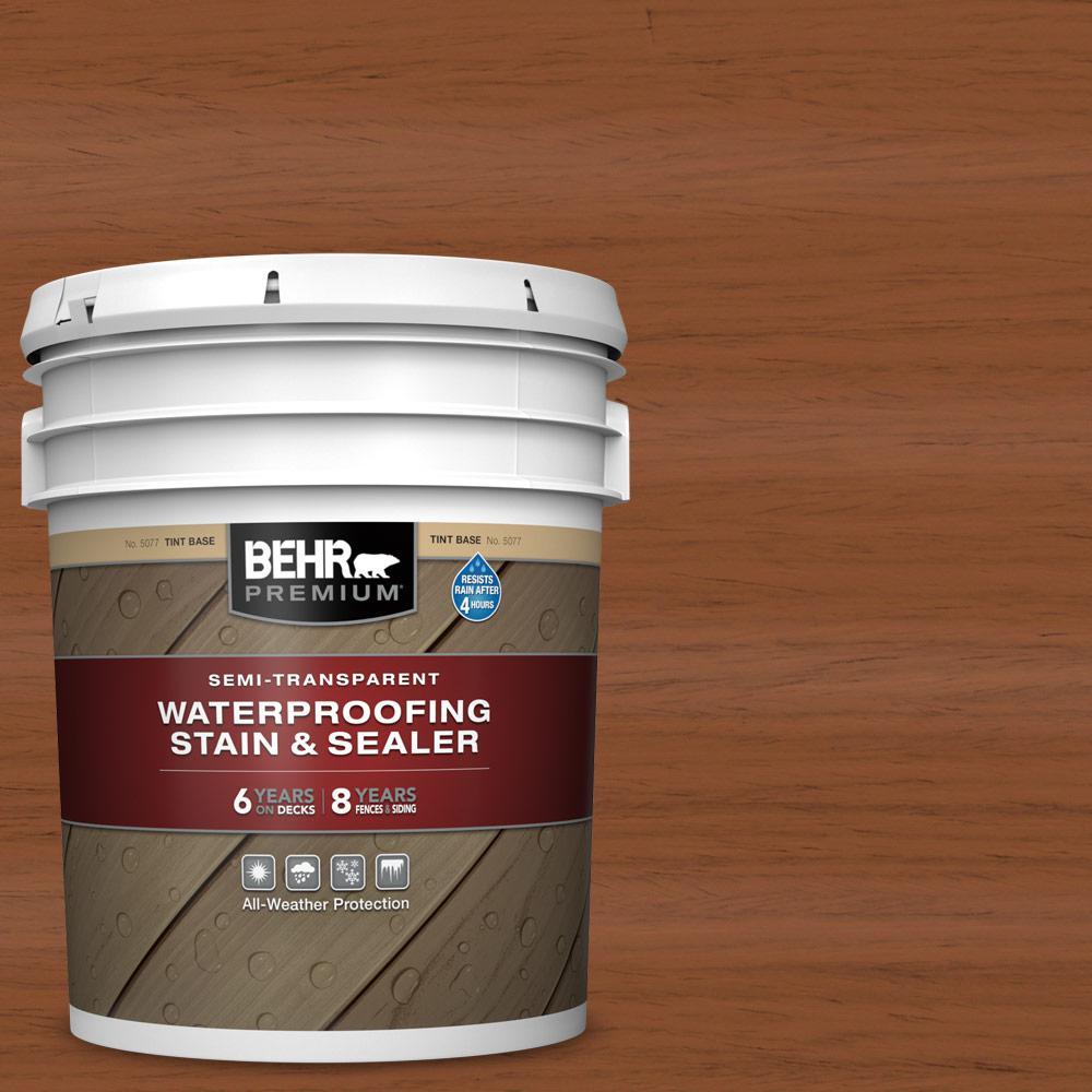 5 gal. #ST-122 Redwood Naturaltone Semi-Transparent Waterproofing Exterior Wood Stain and Sealer