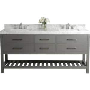 Elizabeth 72 in. W x 22 in. D Vanity in Sapphire Gray with Marble Vanity Top in Carrara White with White Basins