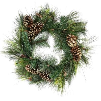 30 in. Unlit Artificial Mixed Pine with Pine Cones and Gold Glitter Christmas Wreath