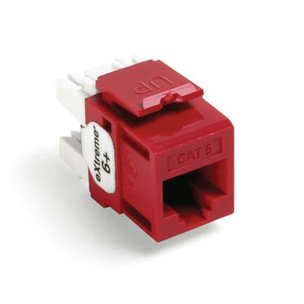 Leviton QuickPort Extreme CAT 6 Connector with T568A/B Wiring,  Crimson-61110-RC6 - The Home DepotThe Home Depot