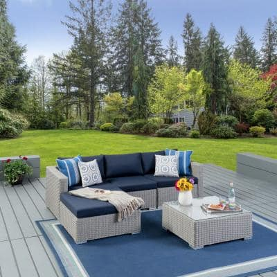 Santa Rosa Chalk Gray 5-Piece Wicker Patio Sectional Seating Set with Navy Blue Cushions