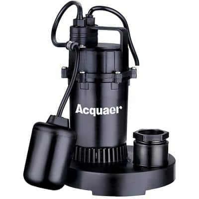 1/3 HP Thermoplastic Sump Pump with Tether Float Switch