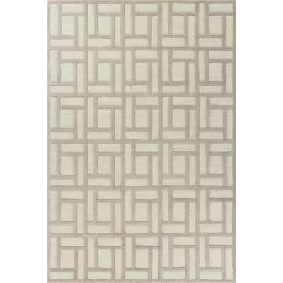 Soho Tan/Ivory Brick By Brick 8 ft. x 10 ft. Area Rug