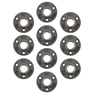 3/4 in. x 2.875 in. Black Iron Round Mini Floor Flange Fitting (10-Pack)