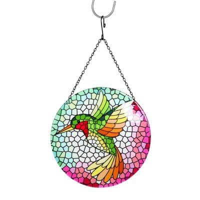Hanging Mosaic Hummingbird Glass Spinner