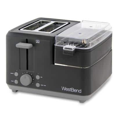 Breakfast Station 2-Slice Black Wide Slot Toaster with Removable Crumb Tray