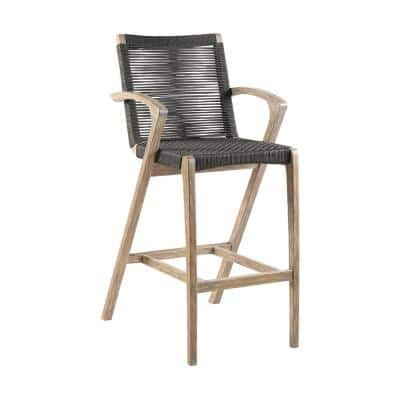 Brielle Armed UV Protected Outdoor Light Eucalyptus Wood and Charcoal Rope Bar Height Stool with Footrest
